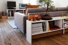 I really like this idea for a room divider bookcase behind the sofa. Can anyone suggest a bookshelf that will go behind the IKEA KIVIK sofa?