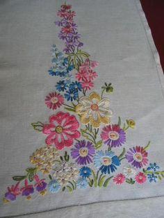 Embroidered Linen Towels Vtg Antique Pair Gorgeous Florals Handmade Hemstitched | eBay