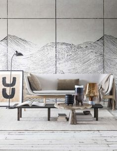 golvend-behang-woonkamer Display Homes, Minimalist Interior, Beautiful Interiors, Diy Furniture, Dining Bench, New Homes, Art Deco, Indoor, Living Room
