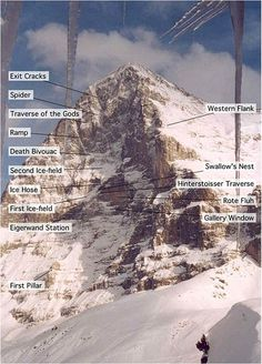 """North Face of the Eiger (Switzerland). Eiger translates to """"Ogre."""" Also known as the Murder Wall ."""