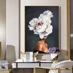 Potrait Drawing Woman Portrait and flower Original Oil Painting Modern art On Canvas Home decor Wall Art For Dinning - Oil Portrait, Female Portrait, Woman Portrait, Canvas Home, Canvas Art, Art Texture, Large Painting, Abstract Flowers, Modern Wall Art
