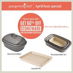 Pampered Chef, April Host Special, 60% off Stoneware, Stoneware, large bar pan,