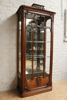 Special Walnut Louis XV Display Cabinet 19th Century