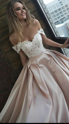 Olivia Bottega off the shoulder wedding dress with lace top #bridalfashion #weddingdress #weddingdress2018