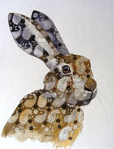 Paisley Hare by Annie Boag Beautiful Rabbit, Beautiful Buns, Rabbit Rabbit Rabbit, Jack Rabbit, Hare Pictures, Year Of The Rabbit, March Hare, Bunny Art, Wild Creatures