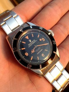 """Vintage Rolex Collectors Would Kill for such a piece....the Rolex Submariner Ref 6538 """"Big Crown 4 Line 3-6-9″"""