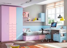 Habitación Infantil: Dormitorio Infantil modular con Armario | Dormitorio Infantil de linea modular con escritorio recto de 151 cm y armario de 3 puertas con sinfo