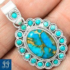 107816 Copper Blue Turquoise Tibetan Turquoise 925 Silver Pendant Chain   eBay