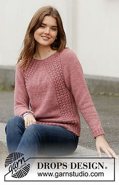 Roses at Dawn / DROPS - Free knitting patterns by DROPS Design Roses at Dawn - Knitted jumper with raglan in DROPS Nepal. Piece is knitted top down with cables. Size: S - XXXL - Free . Free Knitting Patterns For Women, Sweater Knitting Patterns, Knit Patterns, Knitting Wool, Drops Design, Raglan Pullover, Loom Knitting Projects, How To Purl Knit, Top Pattern