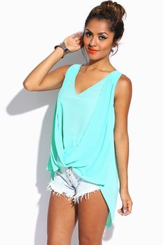 #1015store.com #fashion #style mint green drape front chiffon high low top-$10.00