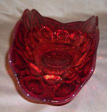 Vintage L. E. Smith Moon and Stars Red / Amberina Footed Banana Bowl