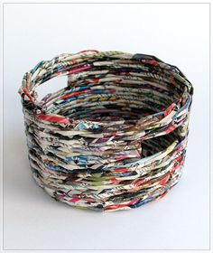 I love these baskets made from recycled paper. (me too) Each is unique and full of character