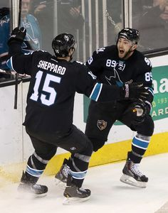 San Jose Sharks forward Barclay Goodrow is all smiles after linemate James Sheppard scored a second period goal (Jan. 29, 2015).