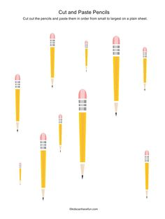 Cut and Paste Pencils from smallest to largest http://www.kidscanhavefun.com/cut-paste-activities.htm #worksheets #school #kidsactivities