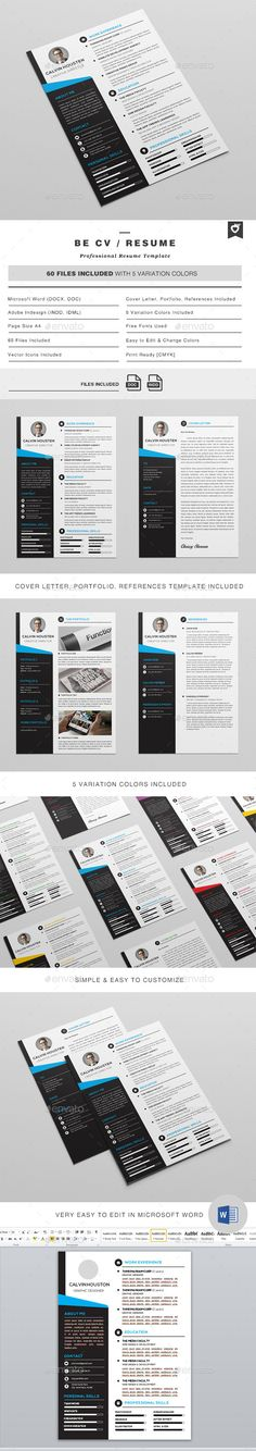 CV / Resume template. This layout is suitable for any project purpose. Very easy to use and customise. #cv #resume #template