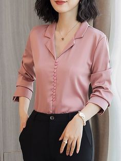 Long sleeve work solid buttoned shift chiffon blouse fashion in 2019 blusas, How To Wear Cardigan, How To Wear Blazers, How To Wear Scarves, Indian Blouse Designs, Korean Blouse, Sleeves Designs For Dresses, Kurti Neck Designs, Casual Outfits, Fashion Outfits