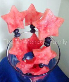Fruit Sparklers   #watermelon #kabobs #blueberries