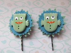 Hair Accessory, Green Monster Bobby Pins. One of a Kind, Ready to Ship by SusanDeanne on Etsy