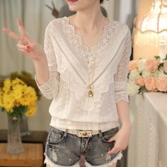 Cheap female shirts, Buy Quality korean women blouse directly from China women blouses Suppliers: 2016 hot sale new arrival Spring and autumn Korean fashion women blouse V neck long sleeve slim lace female shirt 30 Elegant Woman, Shirts & Tops, Shirt Blouses, Tee Shirt, Casual Shirt Look, White Lace Blouse, Spring Shirts, Korean Fashion Trends, Blouse Styles