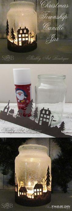 Christmas Township Candle Jar.