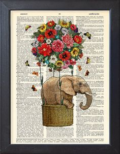 Elephant poster, Flying Elephant art print, flowers hot air balloon, Dictionary Print poster, Dorm Home Wall decor, gift poster, CODE/203