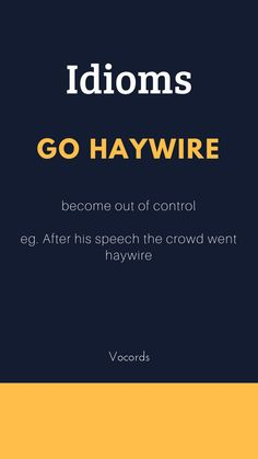 Go Haywire ~ Become out of control eg. After his speech the crowd went haywire.