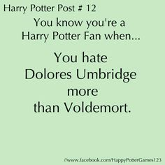 whoa, you know what, the reason we have an inkling of curiosity that evokes a feeling bordering on something resembling non-violence towards Voldemort is because he has that back story... hmm i really wonder what Umbridge's might be