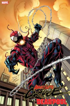 """""""Absolute Carnage vs Deadpool Codex variant by Mark Bagley featuring Ben Reilly as the Spider-Carnage! Venom Spiderman, Spiderman Art, Amazing Spiderman, Marvel Villains, Marvel Characters, Marvel Art, Marvel Heroes, Comic Books Art, Comic Art"""