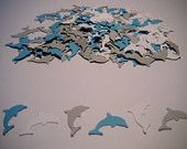 200 Bright Blue, Gray and White Dolphin Hand Punched Paper Confetti