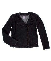 5213873-Negro-19-4008 Leather Jacket, Denim, Jackets, Fashion, Little Girl Clothing, Black, Studded Leather Jacket, Down Jackets, Moda