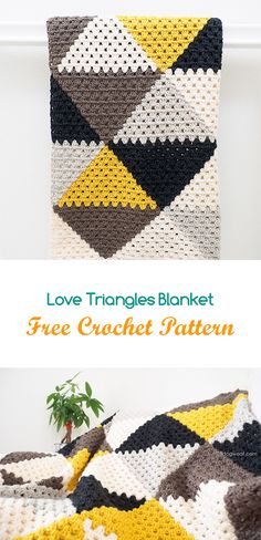 Love Triangles Blanket Free Crochet Pattern #crochet #yarn #crafts #homedecor #style