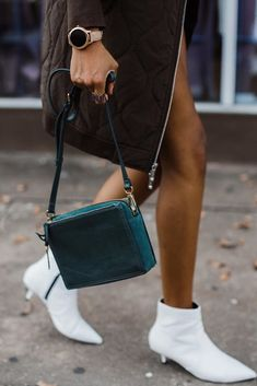 White boots, green Campbell crossbody and our favorite rose gold Q Venture display smartwatch. via @ newtexacali