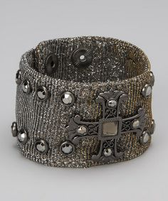 Take a look at this Silver Studded Cross Mesh Cuff by Rhinestone Junkie on #zulily today!