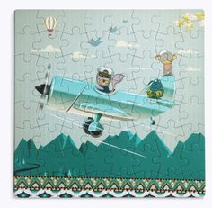 Soar above the mountain tops just like Captain Squirrel and Monkey! A whimsical yet durable puzzle perfect for a quiet day with the kids. Puzzle measures x piecesMade of recycled paper and non-toxic dyes Recommended for ages & printed in Greece Puzzles For Kids, Age 3, Tween, Squirrel, Little Ones, Fairy Tales, Whimsical, Print Design, Recycling