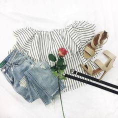 Resort season is coming -- get your vacay pieces ready! Line Up Off Shoulder Top Wicked Distressed Girlfriend Jeans Dulce Bandage Heels