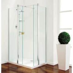 Great shower enclosure from Coram Showers. This shower enclosure incorporates beautifully designed pillars into its frameless glass enclosure shape. We recommend using this enclosure with a slimline shower tray or attatching it directly to a wet room floor.