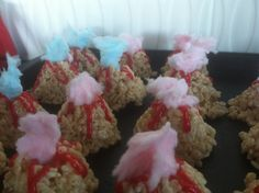 Rice Krispie Volcanoes with Cotton Candy Smoke