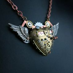 Steampunk heart pendant, steampunk jewelry, winged heart pendant by steelhipdesign via etsy.