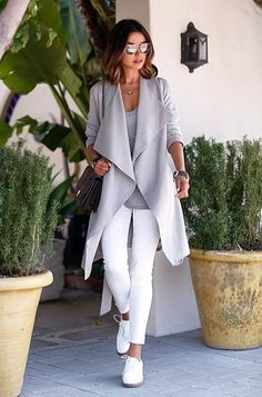 Grey and white casual with white pumps