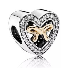 Heart Shaped Gift Item With Stones And Golden Bow #pandorapassion