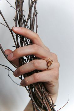Unique engagement ring 14K rose gold ring diamond by TheManerovs