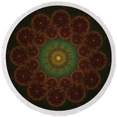 Round autumn sun yellow green brown mandala Round Beach Towel by Lenka Rottova. The beach towel is in diameter and made from polyester fabric. Beach Towel Bag, Summer Essentials, Green And Brown, Household Items, Towels, Mandala, House Design, Autumn, Technology
