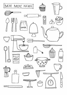 Bake bake cake Home-made kitchen posters - - Sketchnotes: paint cakes and accessories - Doodle Drawings, Doodle Art, Food Doodles, Kitchen Posters, Sketch Notes, Poster Making, Line Drawing, Drawing Tips, Clipart