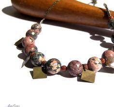 Pink Beaded Necklace Leopard Skin Jasper Necklace by LunaEssence