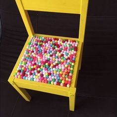 #diy #ikeahack #chalkpaint glued #feltballs #toddler #chair