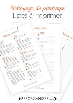 nettoyage de printemps - 3 listes à imprimer