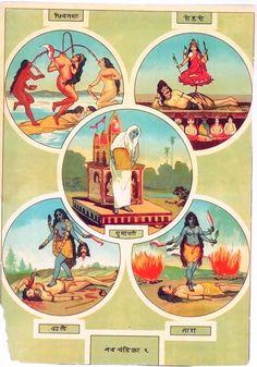 "Mahavidya Part1 Link to Part2 Raja Ravi Varma Oleography (via om25499) Chhinnamasta – The self-decapitated Goddess. Tripura Sundari (Shodashi) – The Goddess Who is ""Beautiful in the Three Worlds""..."