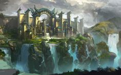 Art landscape city castle cliffs waterfalls birds fantasy wallpaper | 1920x1200 | 69004 | WallpaperUP