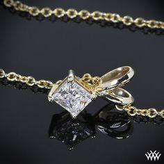 14k Yellow Gold Princess Diamond Pendant