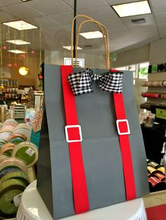 Suspenders bag... cute for a Father's Day, men's birthday, new job, or bachelor party gift!
